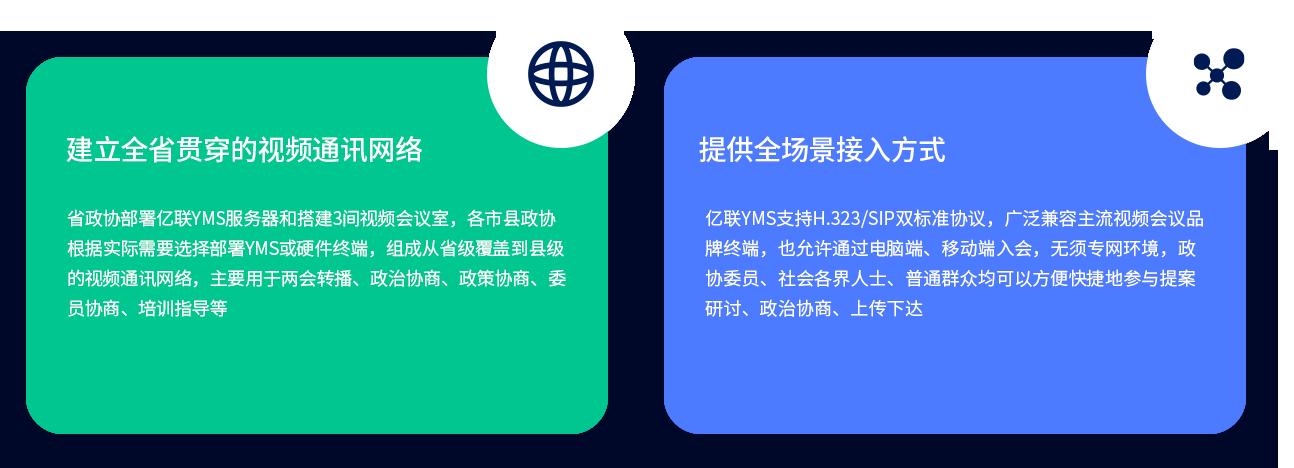 建立全省贯穿的视频通讯网络 省政协部署亿联YMS服务器和搭建3间视频会议室,各市县政协根据实际需要选择部署YMS或硬件终端,组成从省级覆盖到县级的视频通讯网络,主要用于两会转播、政治协商、政策协商、委员协商、培训指导等。 提供全场景接入方式 亿联YMS支持H.323/SIP双标准协议,广泛兼容主流视频会议品牌终端,也允许通过电脑端、移动端入会,无须专网环境,政协委员、社会各界人士、普通群众均可以方便快捷地参与提案研讨、政治协商、上传下达。